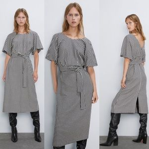 Zara HOUNDSTOOTH DRESS w/ Belt & Puff Sleeves NWT